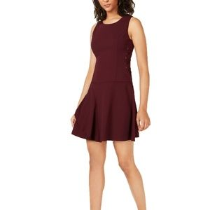 Bar III Tiered Lace-Up Dress Black Currant S
